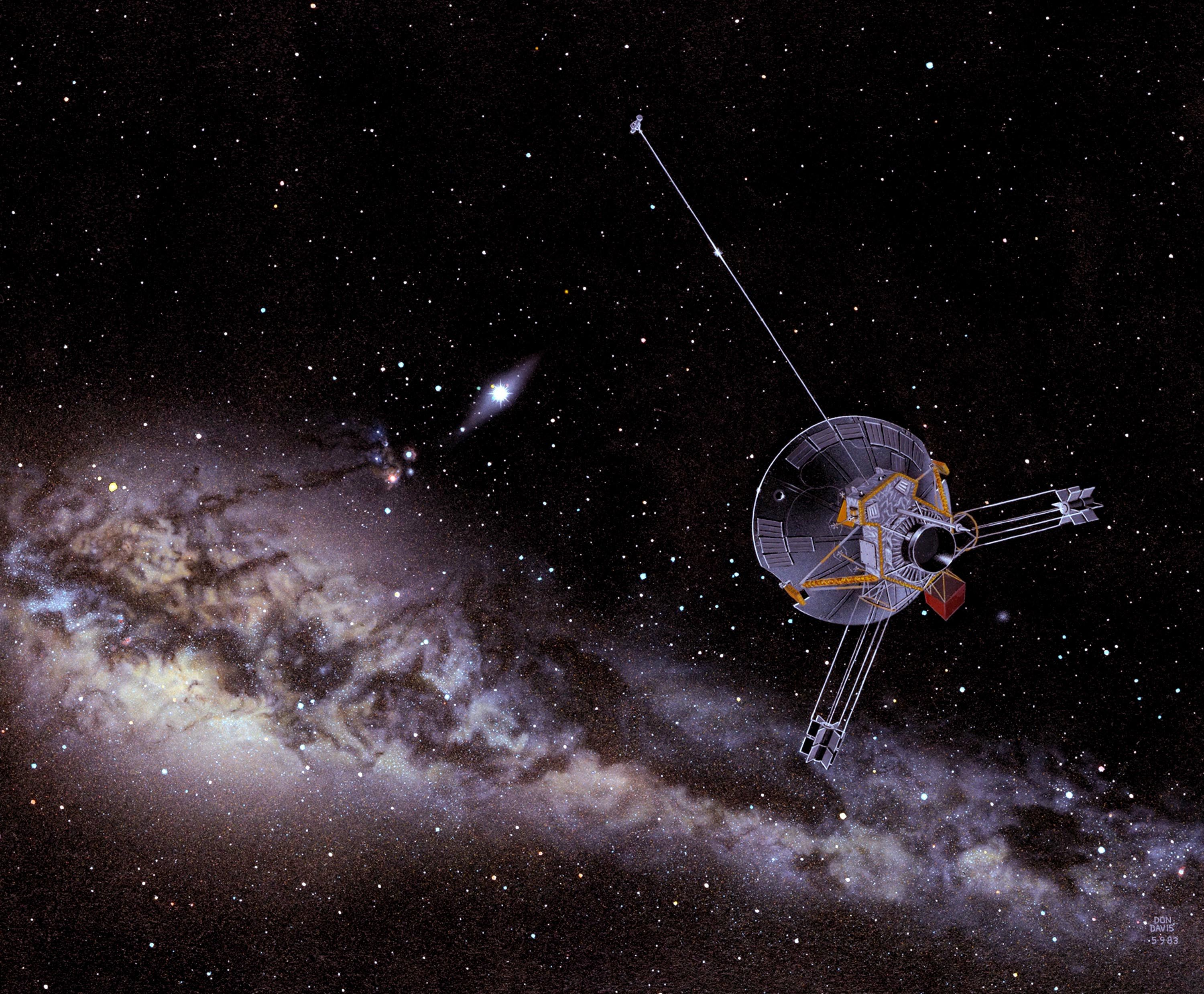 An artist&#39;s impression of a Pioneer<br /> spacecraft on its way to interstellar<br /> space. Image credit: NASA Ames&nbsp;&nbsp;&nbsp;&nbsp;&nbsp;&nbsp;<br /> <a href='http://www.nasa.gov/centers/ames/images/content/739472main_AC83-0351_1.jpg' class='bbc_url' title='External link' rel='nofollow external'>Click for full resolution</a>