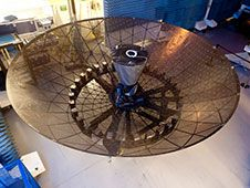 Tracking and Data Relay Satellite<br /> System (TDRS) K/L single access antenna.<br /> Photo credit: Boeing