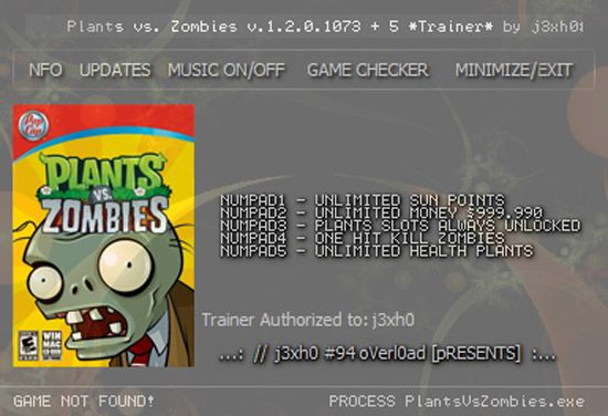 plantsvszombiestrainer Plants vs Zombies 1.2.0.1073 +5 Trainer