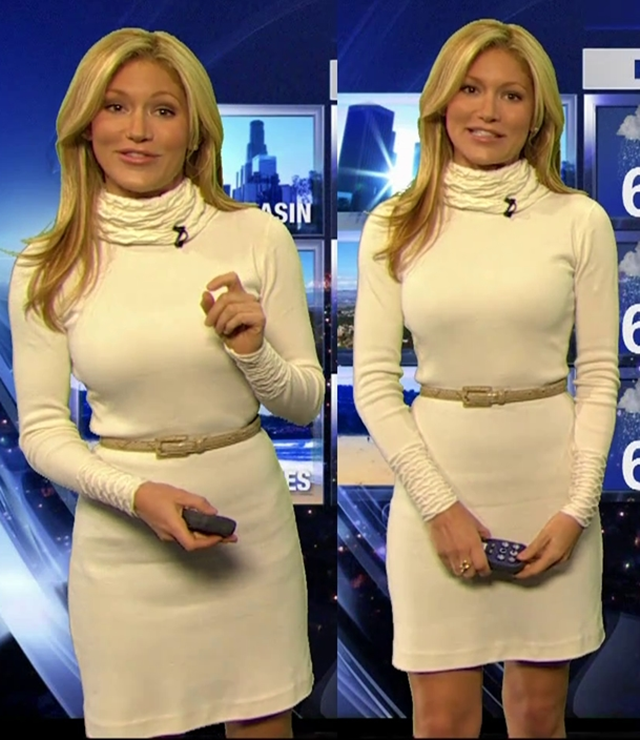 Jackie Johnson is white hot in a leg revealing knit dress.