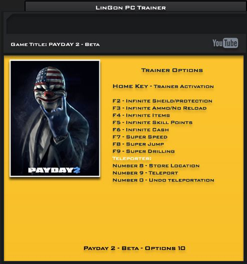 Payday 2 Steam Beta +10 Trainer [LinGon]