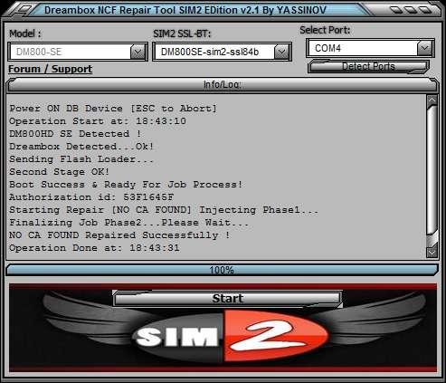 Dreambox NO CA FOUND Repair Tool NCF SIM2 v2.1