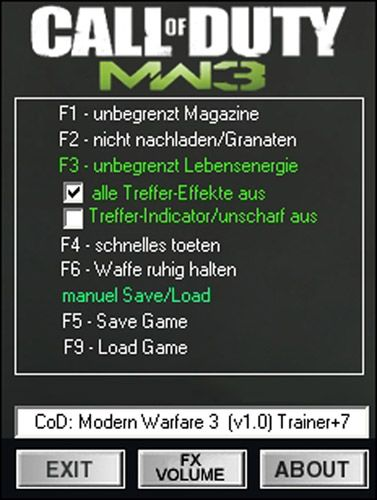 Call Of Duty Modern Warfare 3 Cheats Pc Trainer Download